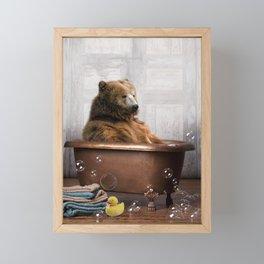 Bear with Rubber Ducky in Vintage Bathtub Framed Mini Art Print