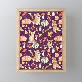 Welsh Corgi Dog Breed Fall Party -Cute Corgis Celebrate Autumn With Pumpkins Mushrooms Leaves - Dark Purple  Framed Mini Art Print