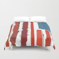 american flag Duvet Covers featuring American Flag  by Robert Payton