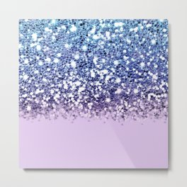 Sparkly Mermaid Blue Purple Lilac Ombre Metal Print