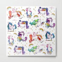 Reading Unicorn Pattern Metal Print