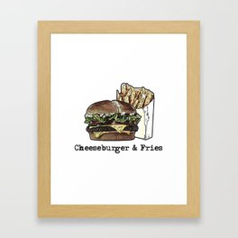 Cheeseburger & Fries Framed Art Print