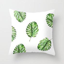 Monstera green leaves Throw Pillow