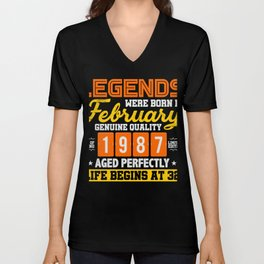 Legends Were Born In February 32nd T-Shirt Unisex V-Neck