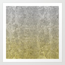 Silver and Gold Glitter Gradient Art Print