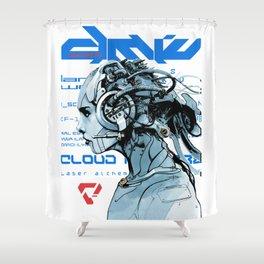 Vaporwave Cyberpunk Cyborg Girl  Shower Curtain
