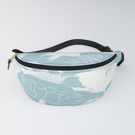 japanese Flowers White and Blue Fanny Pack