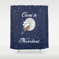 neverland Shower Curtains featuring Peter Pan Neverland in Navy by foreverwars