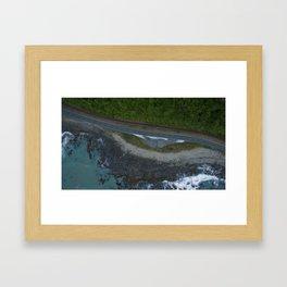 kaikoura coastline vertical view by drone camper serpentines Framed Art Print