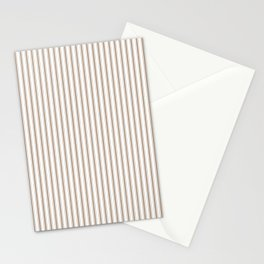 Mattress Ticking Narrow Striped Pattern in Dark Brown and White Stationery Cards