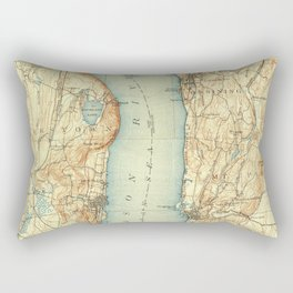 Vintage Map of Tarrytown NY & The Hudson River Rectangular Pillow