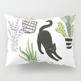 Black cat and plants in the pots. Morning stretch Pillow Sham