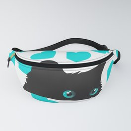 Cat on Blanket with Hearts Fanny Pack