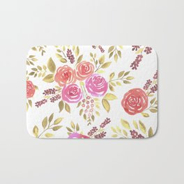 Watercolor pink and red roses with berries Bath Mat