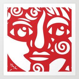 Cara Roja Art Print