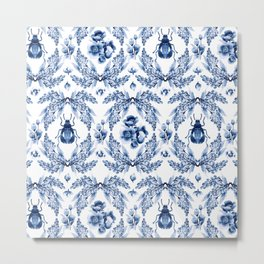 Florals blue & white pattern with beetles Metal Print