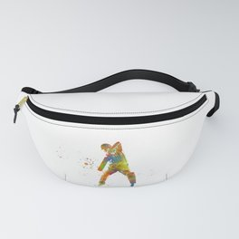 Cricket player in watercolor Fanny Pack