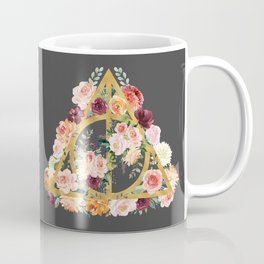 Watercolor Deathly Hallows - Gold/Charcoal Coffee Mug