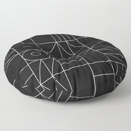 My Favorite Geometric Patterns No.9 - Black Floor Pillow