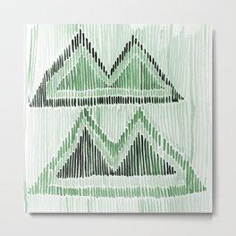 Chilili Watercolor Print in Dark Green Metal Print