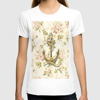 shabby chic T-shirts featuring romantic vintage anchor shabby chic floral by chicelegantboutique