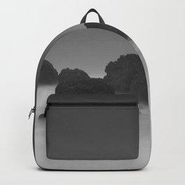Modern Minimalist Black And White Bleak Landscape Foggy Clouds Backpack