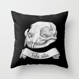 Cat skull in ink Throw Pillow