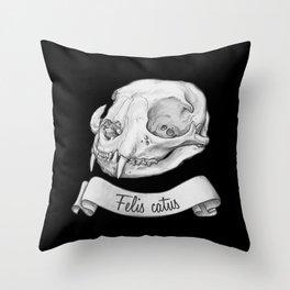 Cat skull in ink Throw Pillow