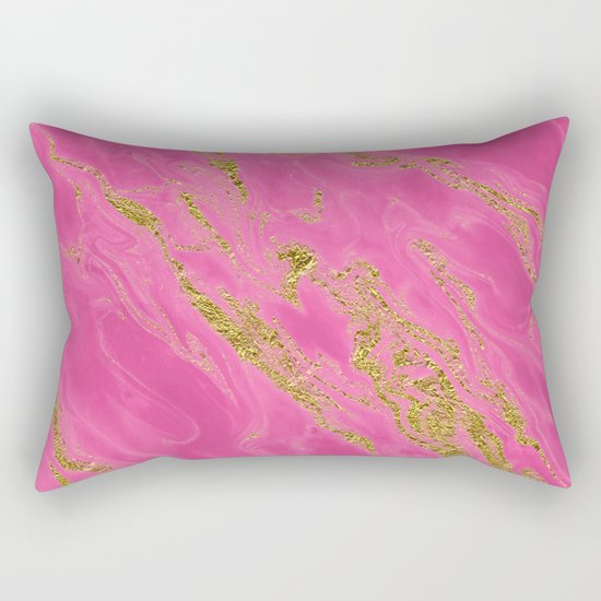 Luxury and glamorous gold glitter on pink Sea marble on #Society6 Rectangular Pillow