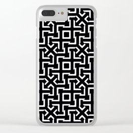 Black and White Ethnic Geometric Pattern Clear iPhone Case