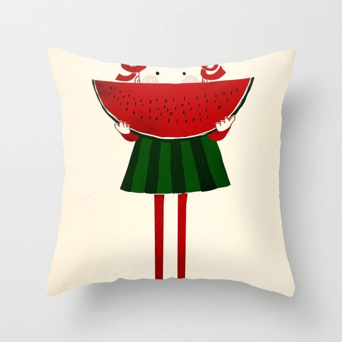 Melone girl Throw Pillow
