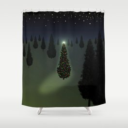 Christmas Tree Green Shower Curtain