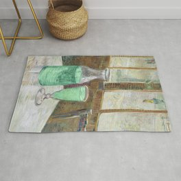 Drinking Absinthe Aperitifs in a Paris Cafe with Vincent still life portrait by Vincent van Gogh Rug