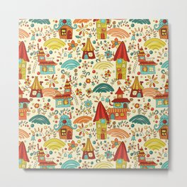 Cartoon Fairyland seamless pattern Metal Print