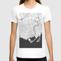 toronto T-shirts featuring Toronto Map Gray by City Art Posters