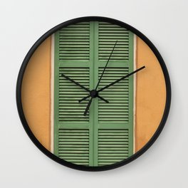 Green Shutters - Colorful Architecture in the New Orleans French Quarter Wall Clock
