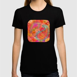 Hippie Chic Paisley Flowers Peace T-shirt