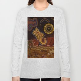 Desert Heat - Australian Aboriginal Art Theme Long Sleeve T-shirt