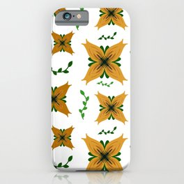 Golden Lily Flower Pattern iPhone Case