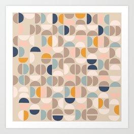 Mid Century Modern organic geometric pattern 1 Art Print