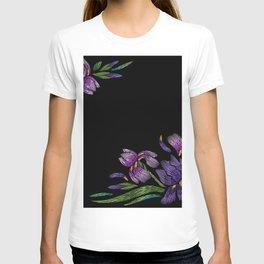 Embroidered Flowers on Black Corner 03 T-shirt