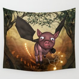 Funny little piglet with wings Wall Tapestry