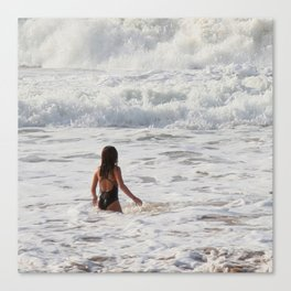 Breaking wave and girl Canvas Print