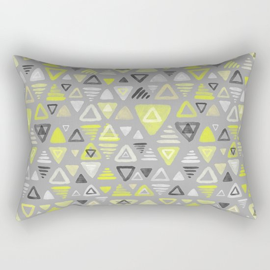 Summer Yellow Triangles on Grey Rectangular Pillow
