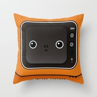 tv Throw Pillows featuring tv by The Geek Store