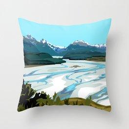 Dart River Valley, Glenorchy Throw Pillow