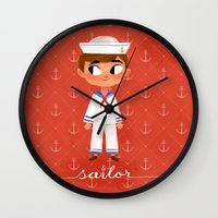 sailor Wall Clocks featuring Sailor by Anoosha Syed