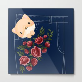 Cute Cat In A Jean's Pocket, Embroidered flowers Metal Print