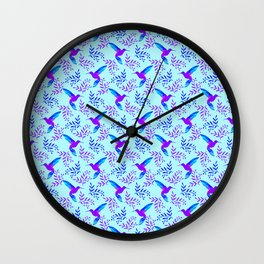 Pretty beautiful cute purple blue hummingbirds, delicate twigs with little leaves pastel pattern Wall Clock