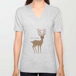 I love you deerly Unisex V-Neck